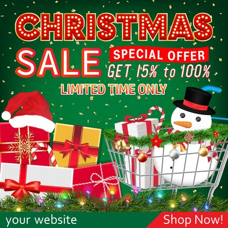 christmas sale banner with gift box and cart Ilustrace