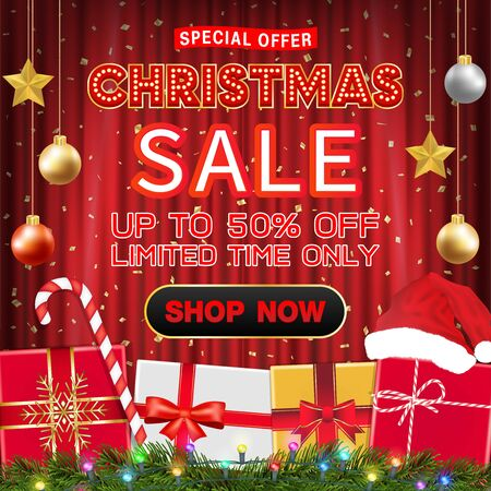 christmas sale banner design with gift box Ilustrace