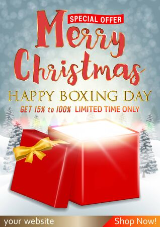 Merry Christmas and boxing day sale with gift box
