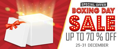 Boxing day sale with gift box open promote poster Ilustrace