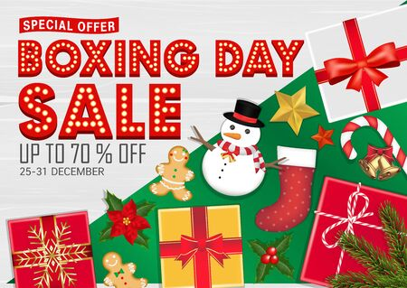 boxing day sale with gift box and chrismas object