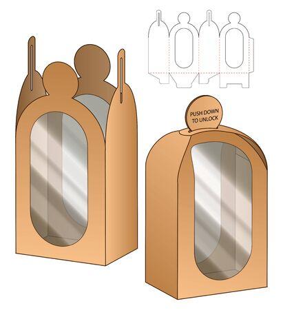 Box packaging die cut template design. 3d mock-up Ilustrace