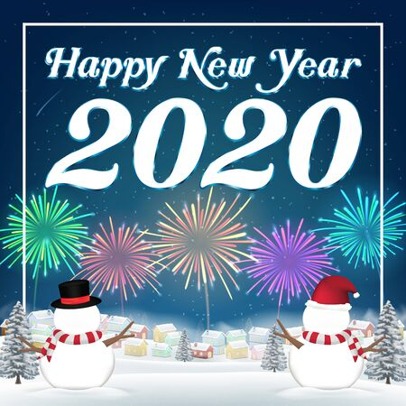 Happy new year 2020 with snow village background