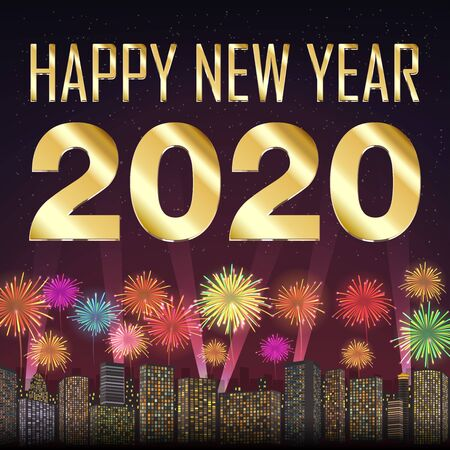 Happy new year 2020 with firework on city background