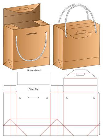 Paper Bag packaging die cut template design. 3d mock-up Vector Illustration
