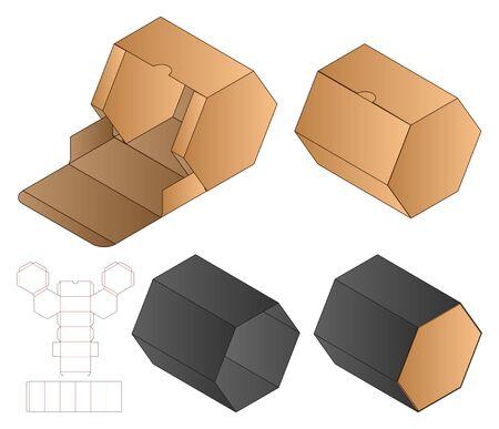 Box packaging die cut template design. 3d mock-up Illusztráció