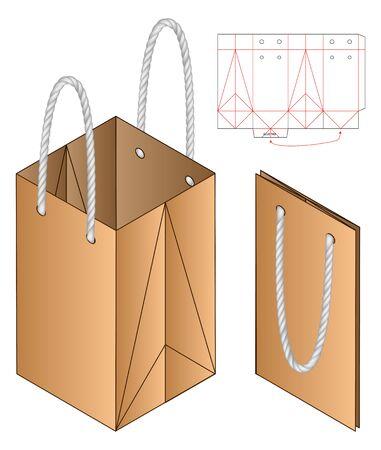 Paper Bag packaging die cut template design. 3d mock-up Stock fotó - 138388890