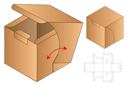 Box packaging die cut template design. 3d mock-up Vector Illustration