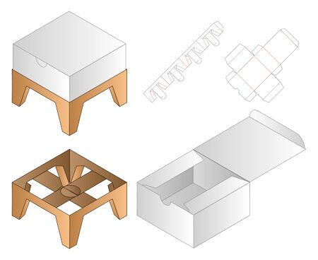 Box packaging die cut template design. 3d mock-up Ilustracja