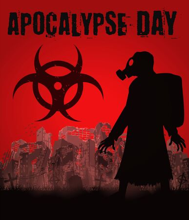 Apocalypse day with gas mask man in ruined city