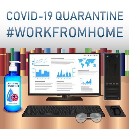 work from home covid-19 coronavirus quarantine 向量圖像