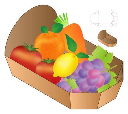 Box packaging die cut template design. 3d mock-up Stock Illustratie