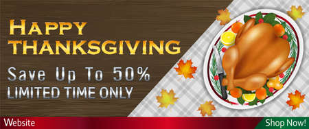 happy thanksgiving sale banner with grilled turkey on table