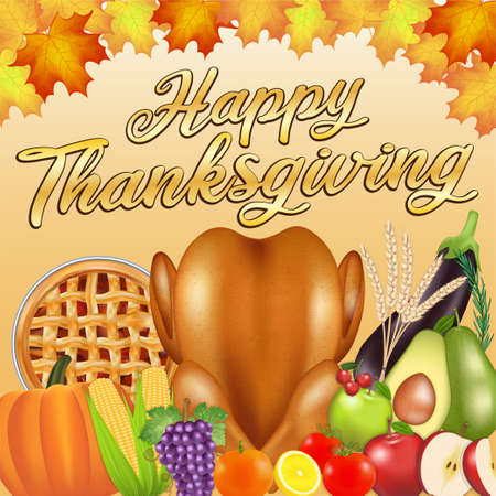 happy thanksgiving celebration  poster banner with food and fruit