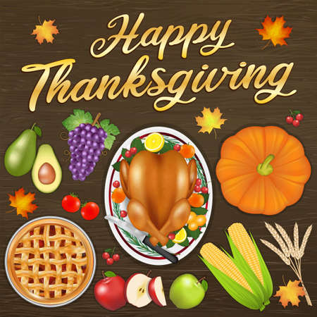 happy thanksgiving celebration festival banner with food and fruit