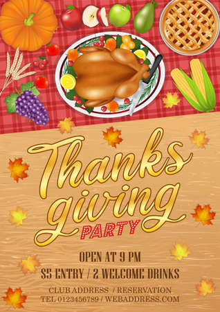 happy thanksgiving celebration party invitation poster with food and fruit