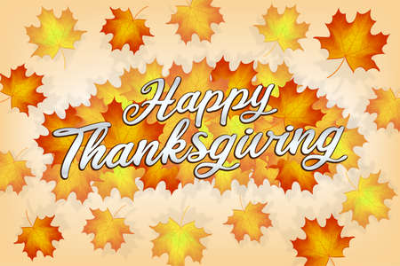 happy thanksgiving with autumn leaf banner