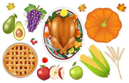 thanksgiving celebration traditional food and fruit set Иллюстрация