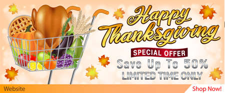 happy thanksgiving sale banner with food and fruit in shopping cart