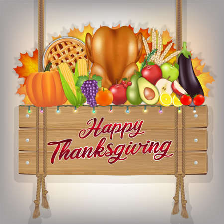 happy thanksgiving celebration traditional wood sign banner with food and fruit Иллюстрация