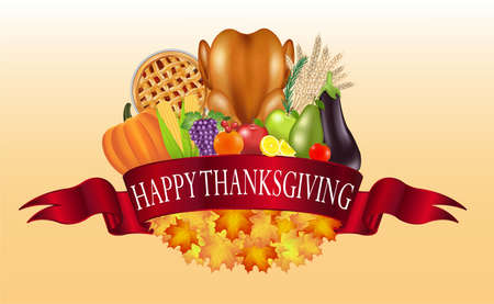 happy thanksgiving celebration traditional flag banner with food and fruit