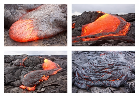 Basaltic pahoehoe lava flow in Hawaii  Kilauea volcano, Pu photo