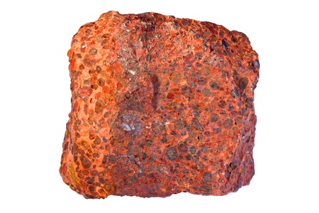 Red coloration is due to hematite  It is a karst type bauxite  Width of sample is 8 cm  Stock Photo