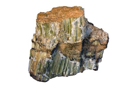 クリソタイル (蛇紋石グループの鉱物) は、アスベストの最も広く使用されるタイプです。サンプルの幅 8 cm。