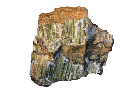 Chrysotile (serpentine group mineral) is the most widely used type of asbestos. Width of sample 8 cm.