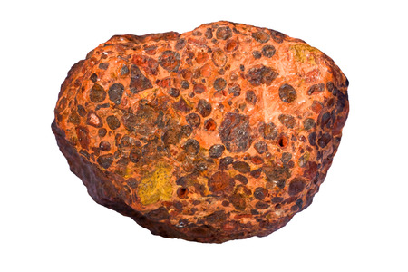 residual: Bauxite is a principal ore of aluminum. Width of sample is 8 cm.  Stock Photo