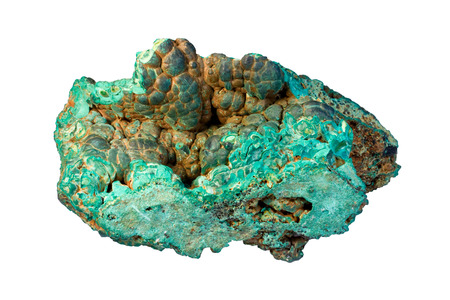 malachite: Sample of malachite (hydrated copper carbonate) with brown limonite (mixture of iron-bearing minerals). Width of sample 12 cm. Stock Photo