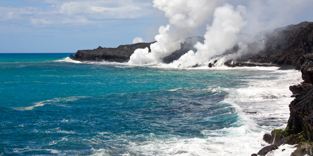 hydrochloric: Lava haze (laze) is an acidic cloud that contains lots of hydrochloric acid. It is a result of a chemical reaction between seawater and hot lava.