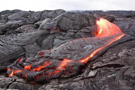 Forming lava landscape in Hawaii. Kilauea volcano, Puu Oo vent.