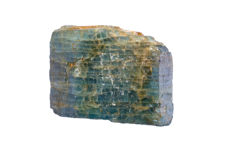hardness: Magmatic apatite crystal. Width of sample is 3 cm. Stock Photo