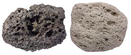 scoria: Highly vesicular volcanic rocks scoria (black) and pumice. Scoria is from Tenerife, pumice is from Santorini.