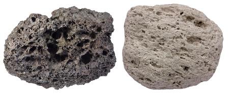 scoria: Highly vesicular volcanic rocks scoria (black) and pumice. Scoria is from Tenerife, pumice is from Santorini.