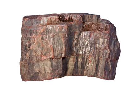 sedimentary: Hematite (Fe2O3) is one of the most important iron-bearing minerals. Width of sample is 8 cm.