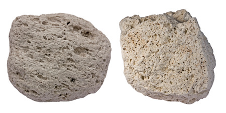 Collage of two pumice pebbles showing typical appearance of this light-weight volcanic rocks. Samples are from Sanorini (left) and Tenerife (right)