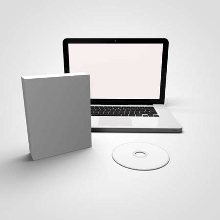usb disk: Laptop and Blank Box and CD Stock Photo