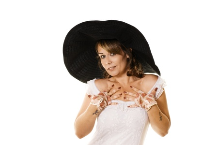 Attractive woman in large black hat