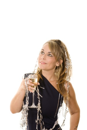 woman in party dress with wine Stock Photo