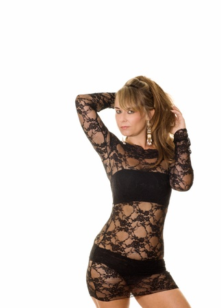 woman in black lace dress Stock Photo
