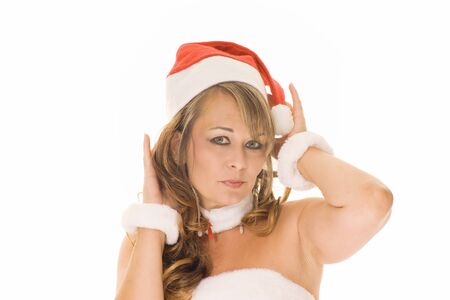 Attractive woman in christmas outfit