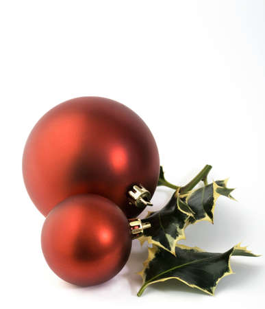 baubles and holly Stock Photo