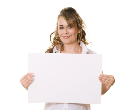 Woman holding white board with copy space