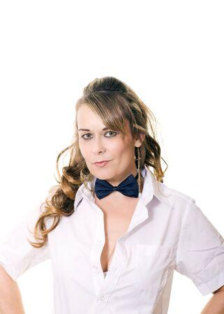 studio portrait of a woman in a bow tie