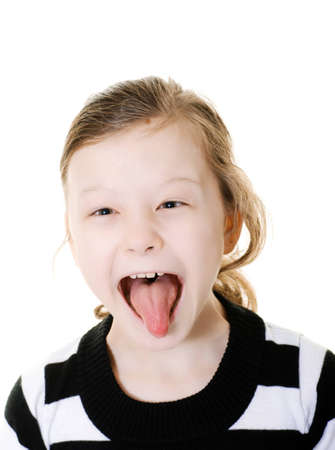 young girl sticking her tongue out photo