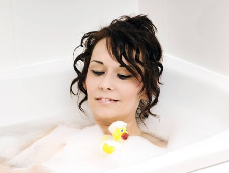 bath and duck Stock Photo