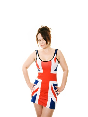 woman in union jack dress