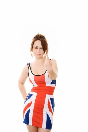 woman in union jack dress giving a number 1 sign Stock Photo - 13523116